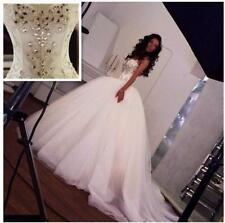 Ball Gown Sparkling Crystals Wedding Dresses Sweetheart Spaghetti Straps Beads