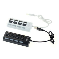 USB 2.0 4 Port Adapter Power On/Off Switch LED Hub Converter for PC Laptop