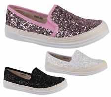 Womens Ladies Flat Slip On Plimsolls Glitter Skater Pumps Trainers Shoes Size 3-
