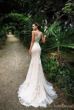 Wedding Dresses Sexy Lace Champagne Button Covered Back Countryside Bridal Gowns
