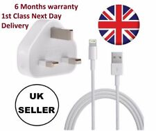 Genuine CE Apple iPhone 7 6S 6 5 5C iPad Mains Wall Charger Plug USB Data Cable