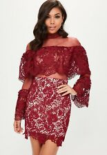 Missguided High Neck Mesh and Lace Flare Sleeve Bodycon size 8 Burgundy RRP £45