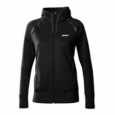 Asics Knit Zip Up Black Cotton Womens Training Hooded Jacket 109872 0905 P6