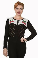 Cherry Black Make Belief Retro Rockabilly 50's Pin Up Cardigan By Banned Apparel