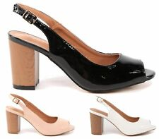 LADIES HIGH BLOCK HEEL BLACK CUT OUT SLINGBACK BUCKLE SANDALS SHOES SIZES
