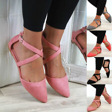 New Womens Flat Ankle Cross Strap Sandals Pointed Closed Toe Comfy Smart Shoes
