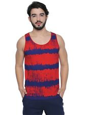 Cult Fiction Red Cotton Fabric Sleeveless All Over Print T-Shirt For Men's