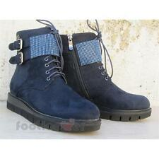 Scarpe Blu Byblos 6670K1 026 Donna Leather Blue Booties Micro Studs Made in Ital