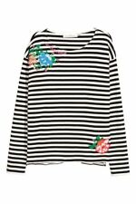 Ex H&M Ladies Black and White Striped Long Sleeve Top with Floral Embroidery