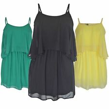 ASOS Floaty Chiffon Strappy Dress in Yellow Green or Black Summer Ladies NEW