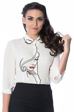 Women's Model Face White Vintage Retro Rockabilly Top Shirt By Banned Apparel