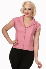 Pink Rockabilly Pinup Vintage 50s Retro Shirt Blouse Button Top Banned Apparel