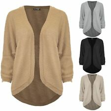 Womens Ladies Cape Cardigan Knitted Ribbed Top Batwing Open Front Poncho Sweater