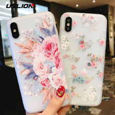 Flower Silicon Phone Case For iPhone 7 8 Plus Rose Floral Leaves Back Cover