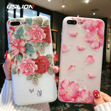 Mobile Cover For iPhone X 3D Relief Flower Leaves Printed Case iphone 6 5