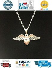 Angel Wings on Heart Symbol Pendant Necklace on a Silver Plated Chain and Bail