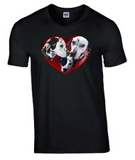 Dalmatian Dogs in Heart Tshirt, T-shirt V or Crew Neck Birthday Gift
