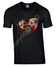 Border Terriers in Heart Tshirt T-shirt V or Crew Neck Birthday Gift
