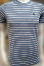 Fred Perry Plain Crew Small Logo T-Shirt | Charcoal, Blue Stripes | Quick Signed