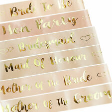 Rose Gold Team Bride To Be Sash Wedding Hen Party Sashes Girls Night Out Party