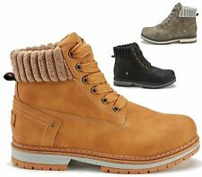 LADIES ANKLE BOOTS WOMENS LACE UP COMBAT WORKER HIKER ANKLE SHOES SIZE UK 3-8