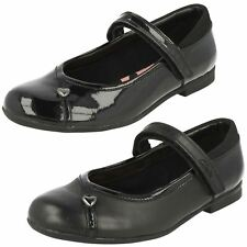 Girls Clarks Leather/Patent Hook and Loop Fastening School Shoes - 'Movello Lo'