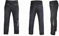 Black Classic Wax Cotton Vintage Style Motorcycle Trouser CE ARMOUR Motorbike WP
