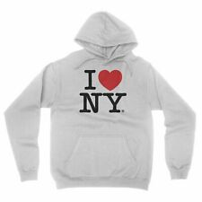 I Love NY New York Hoodie Screen Print Heart Sweatshirt White Medium