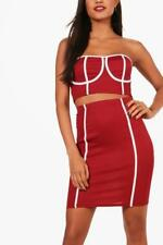 BOOHOO Contrast Ribbed Corset and Skirt Set Plum size 6