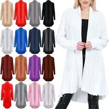 Womens Ladies Ribbed Cable Knitted Open Front Top Plain Bolero Cardigan Sweater