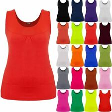 Plus Size Ladies Womens Plain Celeb Gathered Neck Ruched Stretchy Long Vest Top