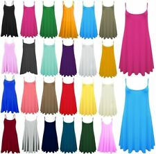 Womens Cami Flared Skater Swing Midi Dress Ladies Strappy Party Wear Vest Top
