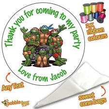 24 Personalised Ninja Turtles DIY Sweet Cone Ribbon Party Bags Kit Stickers 116