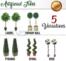 Twin Artificial Tree Plant Indoor Outdoor Topiary Bay Leaf Pyramid Flower Spiral