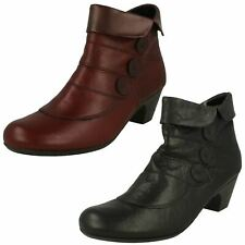 Ladies Rieker Rounded Toe Leather Zip Up Heeled Ankle Boots 70562
