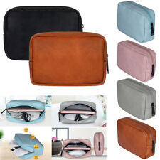 Electronic Travel Storage Bag PU Leather USB Cable Earphone Pouch Organizer Case