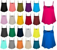 Ladies Plus Size Printed And Plain Cami Swing Vest Womens Sleeveless Strappy Top