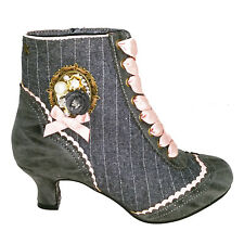 Joe Browns Ambrose Ankle Boots Grey Pink Low Heel Steampunk Victorian LARP