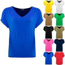 Plus Size Ladies Womens V Neck Batwing Baggy Oversize Turn Up Sleeve T Shirt Top
