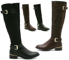LADIES WOMENS FLAT KNEE HIGH WIDE RIDING BOOTS LEG MID CALF WINTER SIZE