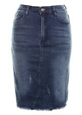 Women's Ripped Destressed Raw Hem High Waisted Denim Stretch Midi Skirt Mid Blue