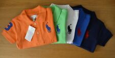RALPH LAUREN cotton mesh baby Boy polo shirt BIG PONY 3 to 24 Months blue orange