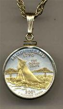 """2001 Rhode Island State Quarter 24 k Gold on Silver 18"""" or 24"""" Coin Necklace #2"""
