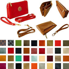 SMALL MULTI POCKET COMPARTMENT CROSS BODY PURSE BAGS CLUTCH WRISTLET LONG STRAPS