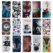 Funda flip book faux leather print wallet for Philips Xenium V377
