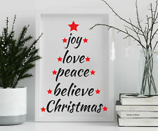 Joy Love Peace Christmas Tree Stencil Vintage Card making Paint Crafts CH39