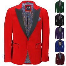 Mens Velvet Tuxedo Dinner Jacket Retro Smoking Coat Formal Tailored Fit Blazer