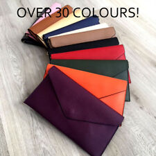 LARGE FAUX LEATHER ENVELOPE CLUTCH BAG WITH SHOULDER STRAP PLAIN OVER SIZED HAND