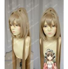Girls Long Straight Synthetic Blonde Wig Women Ponytail Cosplay Hair Full Wigs