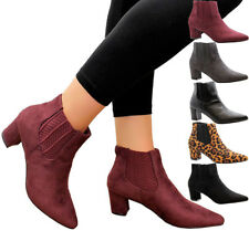 Ladies Womens Mid Block Heels Pointed Court Shoes Ankle Chelsea Boots Shoes Size